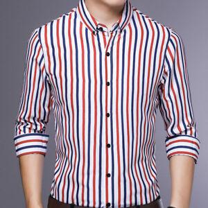 Mens-Dress-Long-Sleeves-Shirts-Casual-Luxury-Slim-Fit-Striped-Multicolor-EC6490