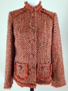 CHICO-039-S-Women-039-s-Size-0-Orange-Brown-Tweed-Wool-Bland-Career-Work-Jacket-Blazer
