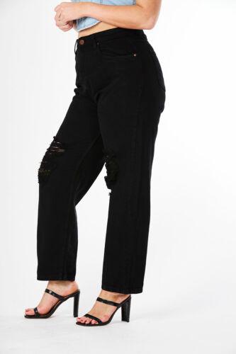 Plus Size Women Black High Waist Distress Mom Jeans