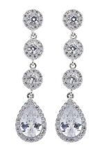 CLIP ON EARRINGS silver plated luxury earring with CZ crystals & stones - Maria