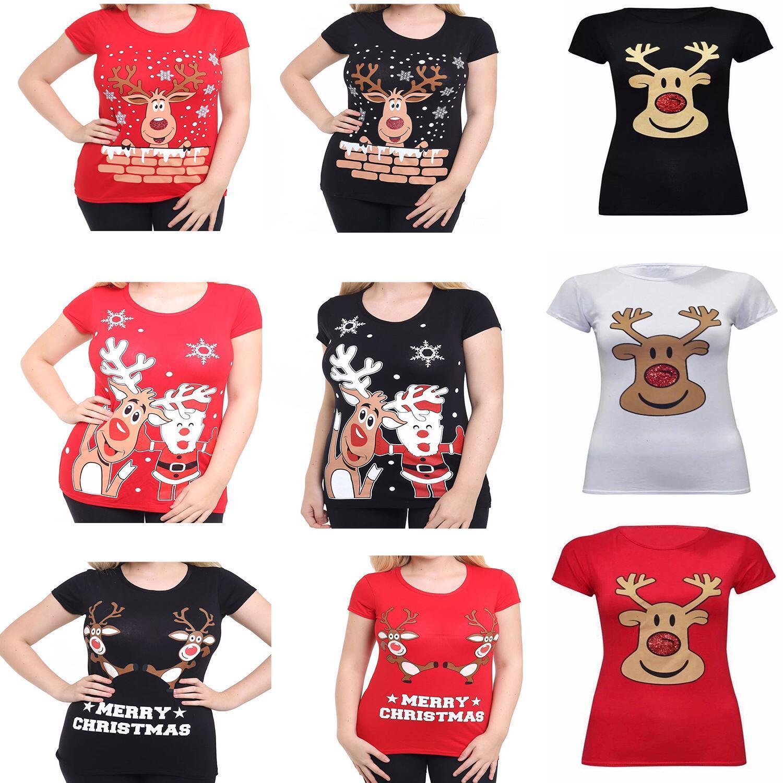 Womens Ladies Christmas Glitter Reindeer Santa Snowman Printed T-Shirt Tops 8-30