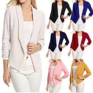 Womens-3-4-Sleeve-Blazer-Open-Front-Short-Cardigan-Suit-Jacket-Work-Office-Coat