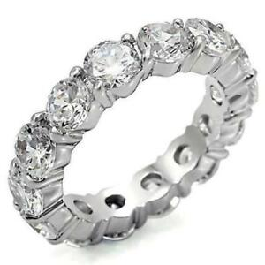 4-TCW-925-Sterling-Silver-Round-CZ-Eternity-Bridal-Wedding-Ring-Band-Size-8-5