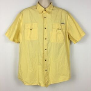 Columbia-Mens-Short-Sleeve-Button-Up-Fishing-Shirt-Yellow-Outdoor-Size-XL