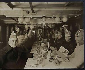 1930 original Frank Hurley photo Christmas dinner BANZARE Antarctic Expedition.