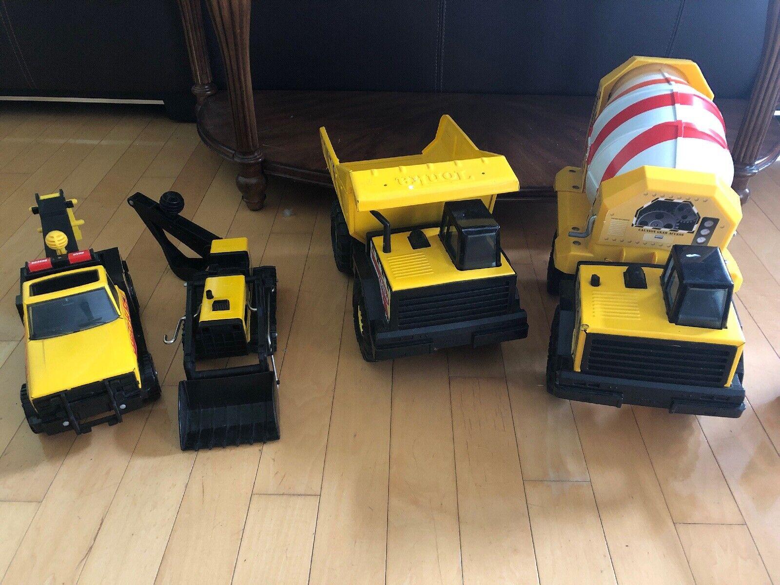 Lot Of 4 Hasbro Tonka Cement Mixer dump Truck  Other  Steel Plastic Yellow USA
