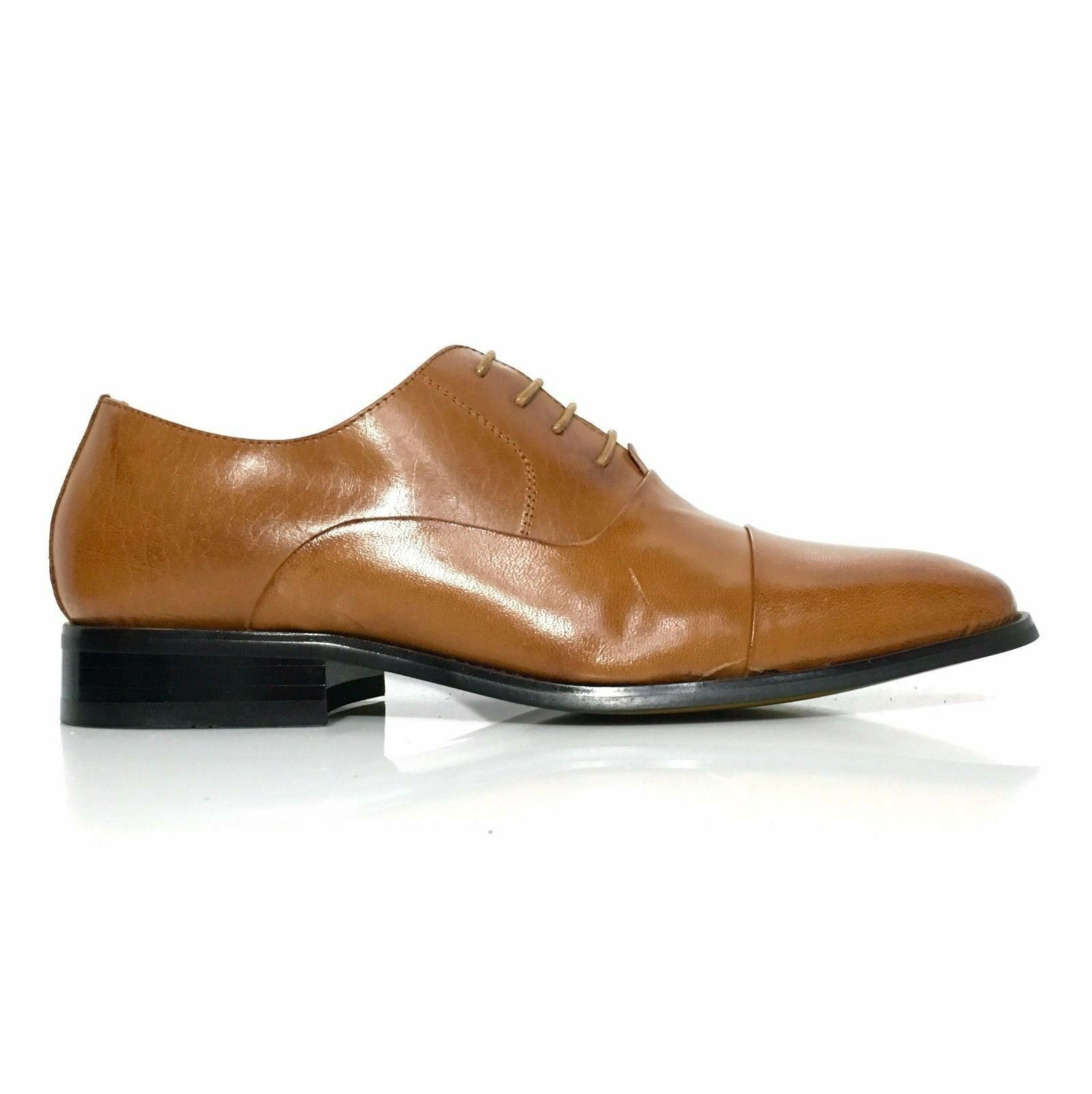 La Milano Men's Leather Round Cap Toe Oxford Lace Up Dress shoes Style F591 Tan