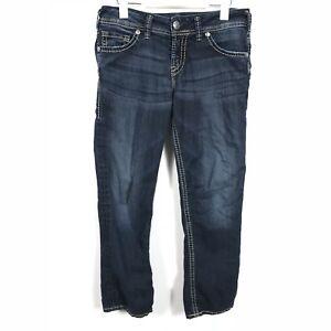 f21ad90d32e5a Image is loading SILVER-JEANS-Womens-Stretch-SUKI-CAPRI-Blue-Jeans-