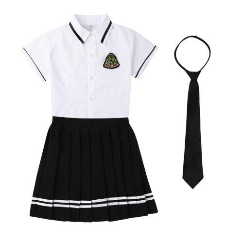 School Girl JK Sailor Uniform Role Cosplay Costume Skirt+Shirt Set Fancy Dress