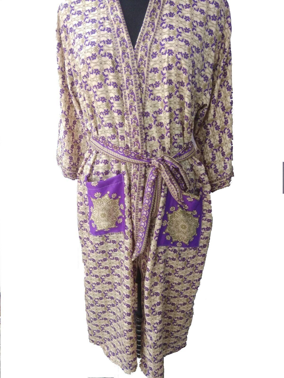 5Pc Indian Vintage Recycled Blend Silk Sari Women Wear Kimono Bathrobe Sleepwear