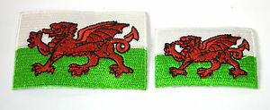 2X-WALES-WELSH-CYMRU-FLAGS-Embroidered-Iron-Sew-On-Cloth-Patch-Badge-APPLIQUE