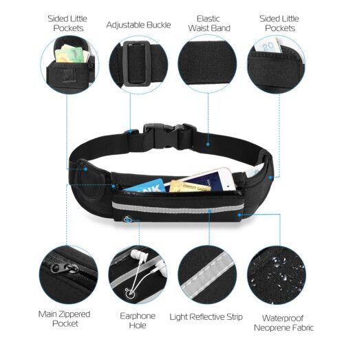 Waterproof Sport Runner Waist Bag Running Jogging Belt Pouch Zip Adjustable