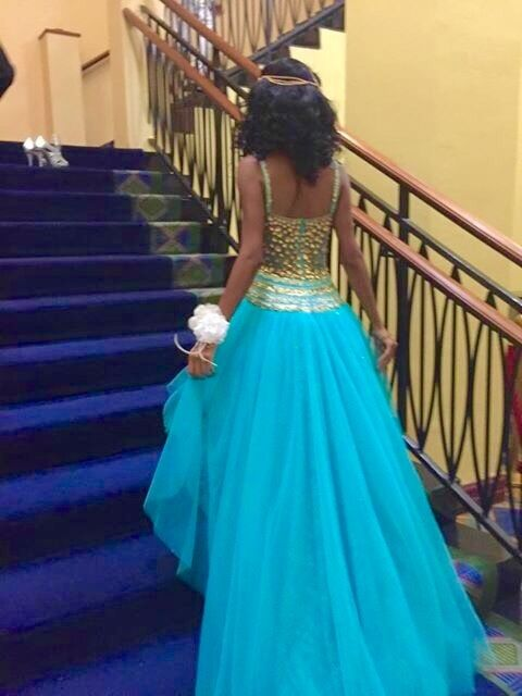 Aqua blue Gold Sherri hill used prom dress size 2