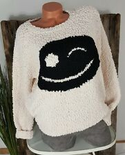 NEU KNIT WEAR BOYFRIEND OVERSIZE BOUCLE PULLOVER BIG SMILEY CREME 36-42