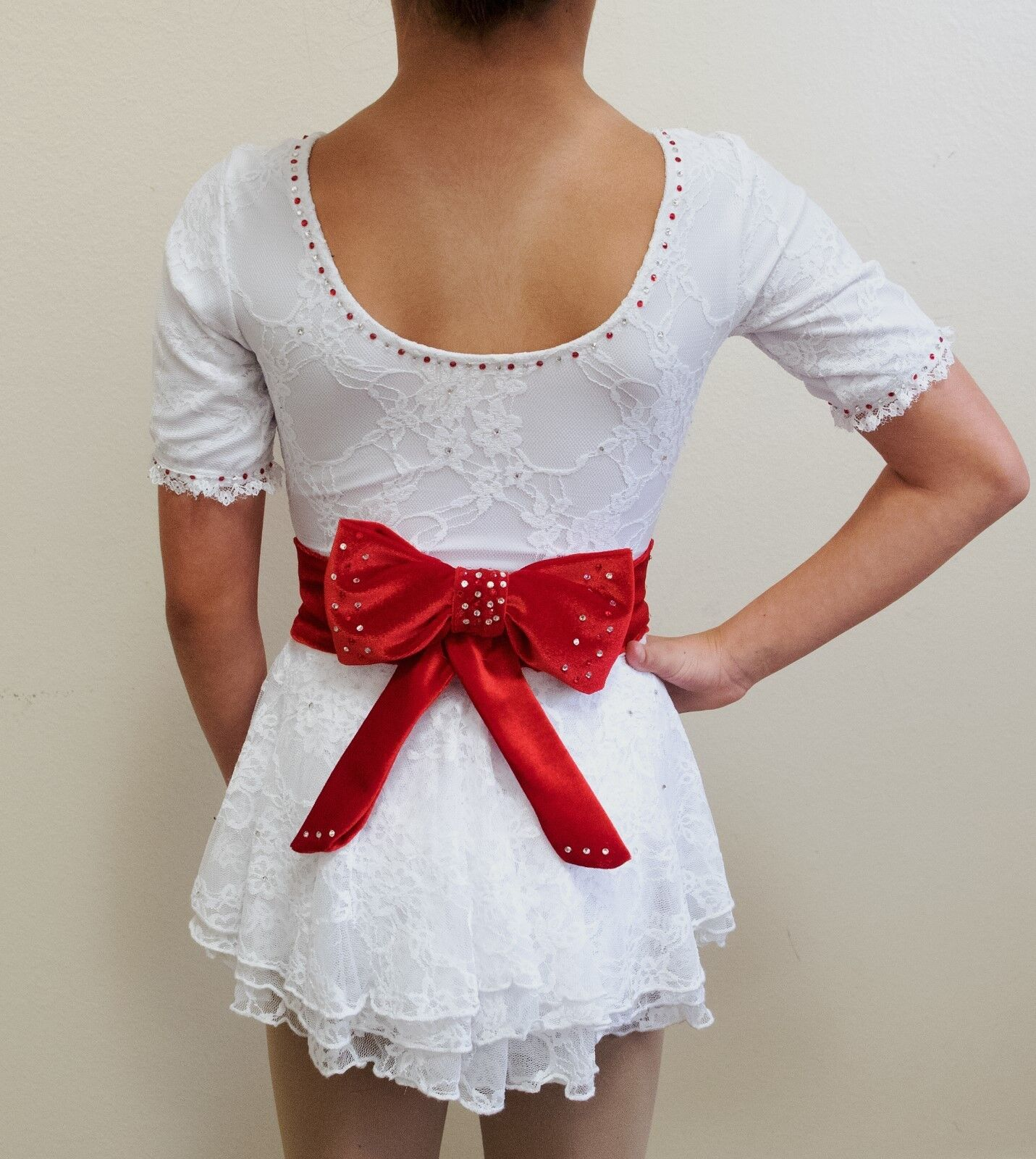 Figure Skating Competition Dress, White lace with Red Ribbon