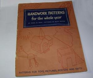 VTG-1951-PAPER-CRAFT-BOOK-Handwork-Patterns-for-Year-Dahl-XMAS-DOLL-FURNITURE