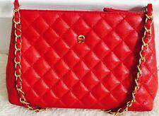 ETIENNE AIGNER Genuine Leather Red Crossbody Evening Shoulder Bag Gold Chain