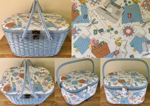 SEWING BOX BASKET LARGE HAMPER STYLE & LARGE OVAL in 'SEW SPECIAL' DESIGN