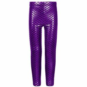 ee5b90864ad Kids Girls Fish Scale Mermaid Leggings Stretch Foil Wet Shiny Disco Party  Pants