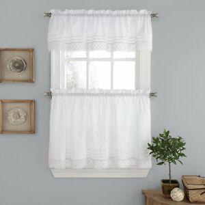 Pleated-Crochet-Kitchen-Window-Curtain-Tier-Pair-or-Valance-White