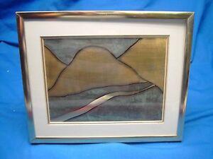 Dick Greer Mountain Stream metal framed art signed