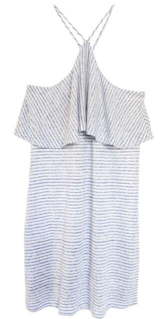 ad9e1ee46c7 Splendid Womens Navy Linen Striped Halter Casual Dress M BHFO 7160 ...