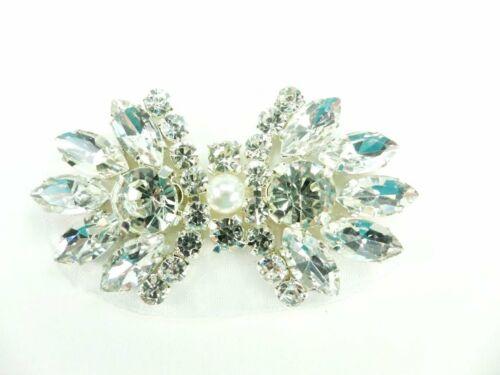 "Rhinestone Applique Crystal Stones Silver Setting Pearl Bridal Patch 2/"" GB826"