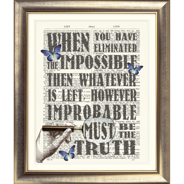 ART PRINT ON ANTIQUE DICTIONARY BOOK PAGE Sherlock Holmes Quote Vintage Picture