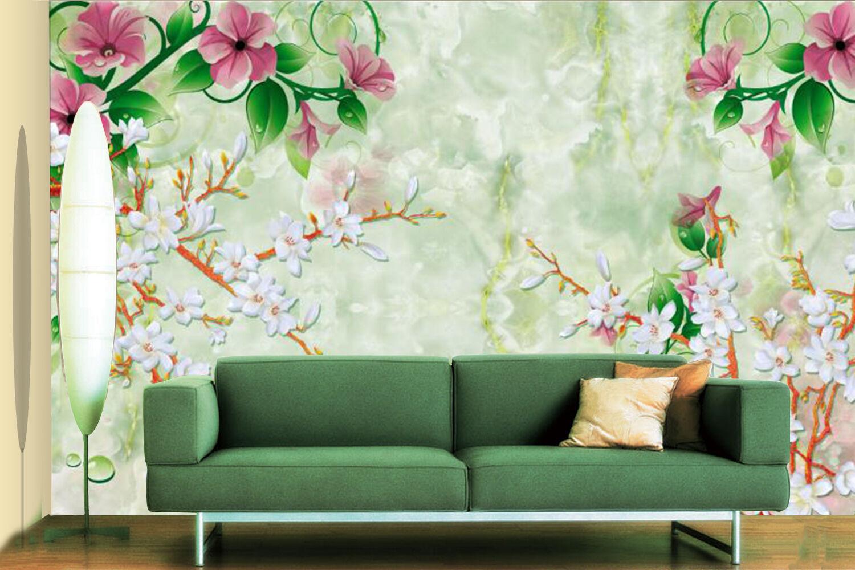 3D Fiori, foglie Parete Murale Foto Carta da parati immagine sfondo muro stampa