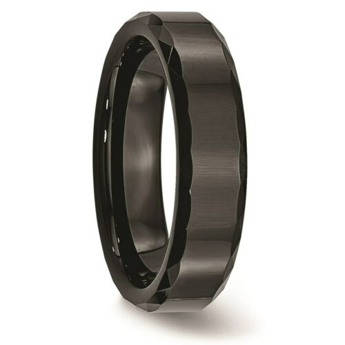 Details about  /Ceramic Black Faceted and Beveled Edge 6mm Polished Band S:6