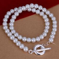 Damenhalskette Kugeln Perlen 8 mm 45cm Halskette pl. mit  Sterlingsilber