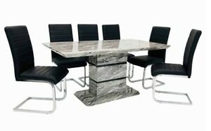Modern Grey marble effect dining table with 6 black white ...