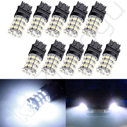 10PCS 6500K White 60SMD LED DRL Tail Stop Turn signal Light Bulbs 3157 3057 4114