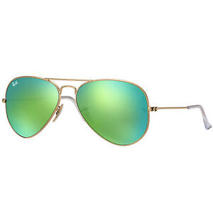 a35aa67140f61 Ray-Ban Matte Gold 55mm Green Mirror Unisex Aviator Sunglasses - RB3025-112- 19-55