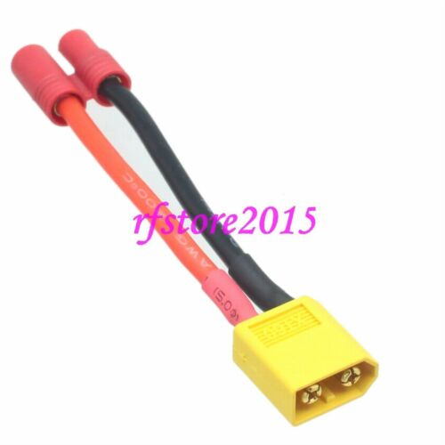 XT60 XT-60 to ESC HXT 3.5mm Bullet charger cable 14AWG 5CM for lipo Turnigy
