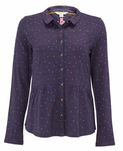 Neu White Stuff Size 6-18 Mini Jersey Baumwolle Marineblau Hemd Bluse Top