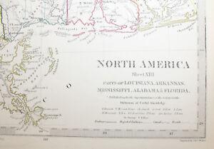 1852 Louisiana Arkansas Mississippi Alabama Florida Original Antique