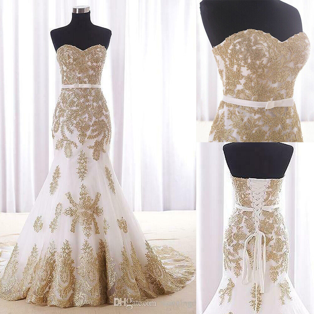 Strapless Mermaid Wedding Dresses Gold Lace Appliques Bridal Gown Sweep Train