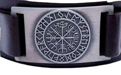 Vegvisir Islandais Magique Portée Viking Boussole Rune Cuir Manchette Bracelet