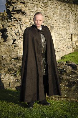 Sensibile Nero E Marrone Mantello Di Cotone, Larp Rievocazione Medievale Fancydress Ridotto-mostra Il Titolo Originale Styling Aggiornato