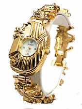 WOMEN'S CASSANT NOAH'S ARK RELIGIOUS METAL BAND GOLD TONE BRACELET ANALOG  WATCH