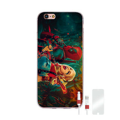 Harley Quinn and Deadpool iPhone 7 Hülle Case + Displayschutz + Kabel Schutz