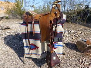 "hand made custom riding saddle 15 ""seat sante fe trail ride raw hide tree"