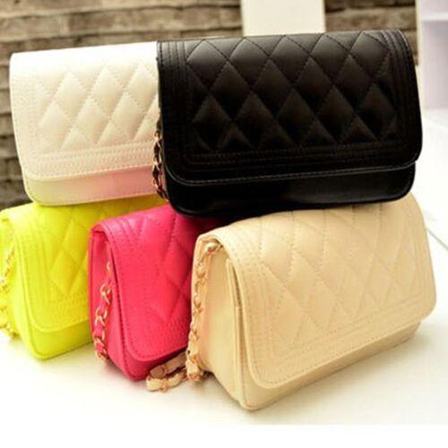 NEW Women Quilted Leather Shoulder Messenger Chain handbag black fashion Bag