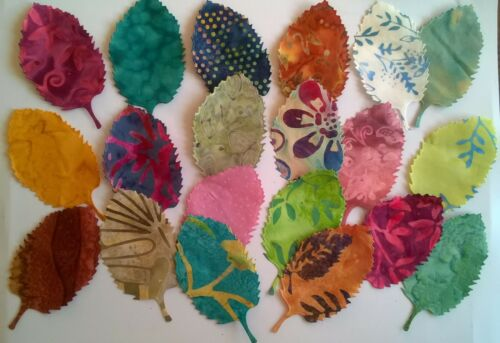 Batik Beech Leaves fabric scraps Pack remnants patchwork bundles 100/% cotton
