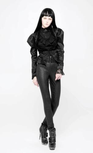 Tregging Damen Rave Edel Jacquard Taille Schwarz Haute Punk Gothique Tuyau 71wUT