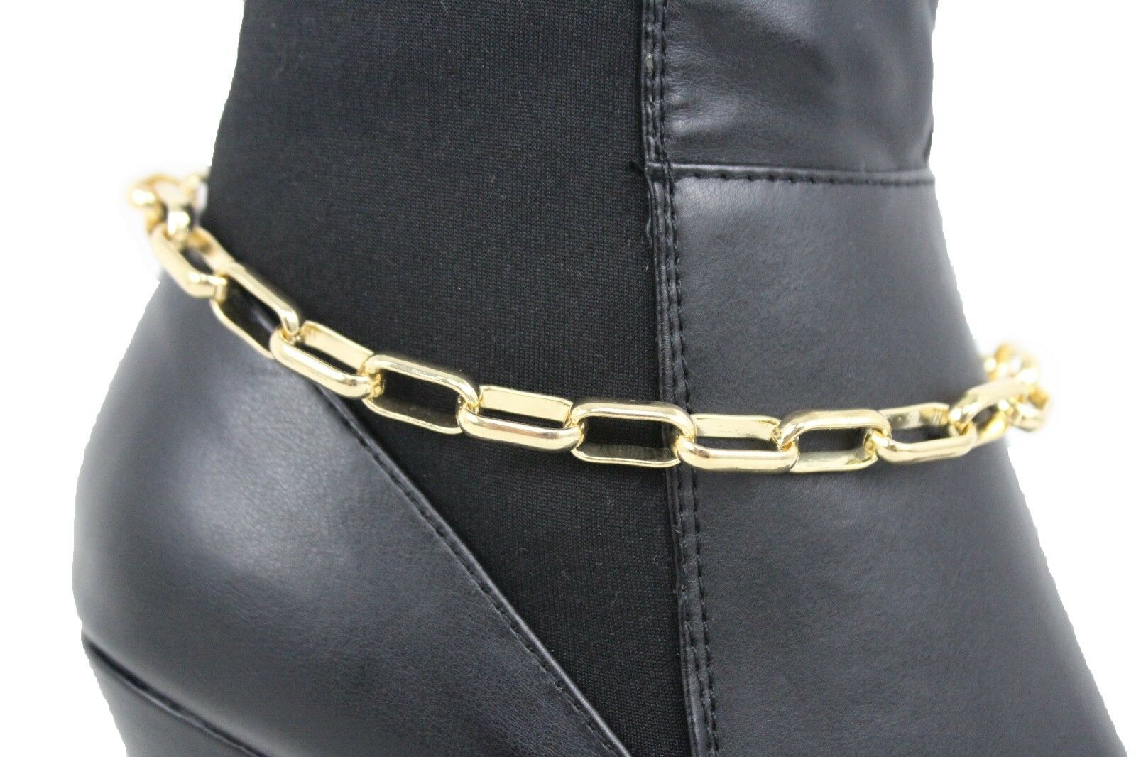 Women Boot Chain Gold Metal Long Link Band Shoe Classy Charm Anklet Biker Strap
