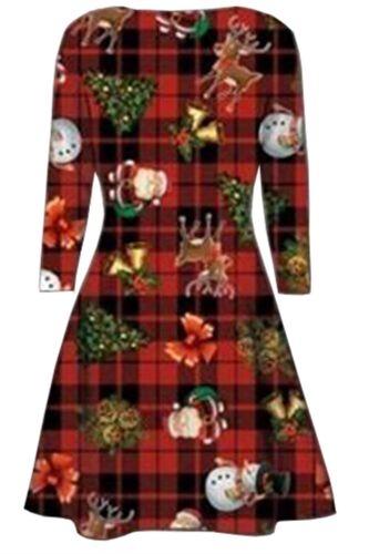 Ladies Christmas Tartan Reindeer Xmas Santa Gift Bells Print Flared Swing Dress