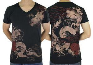 DRAGON-Japanese-Irezumi-Tattoo-Art-Samurai-Yakuza-WORK-WK183-Men-Black-T-Shirt