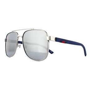0139477de99 Gucci Sunglasses GG0422S 004 Ruthenium and Blue Grey Silver Mirror ...